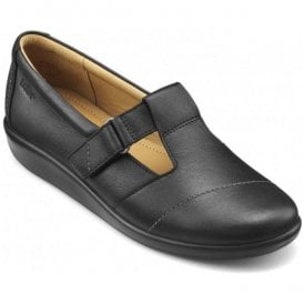 Womens Sunset 2 Extra Wide Black Leather Velcro Shoes