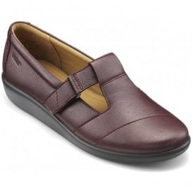 Womens Sunset 2 Extra Wide Maroon Metallic Leather Velcro Shoes