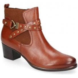 Womens Cognac Nappa Leather Ankle Boots 9-25322-21 303