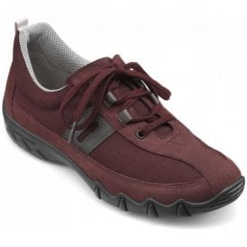 Womens Leanne Extra Wide Maroon Suede/Nubuck Lace Up Shoes