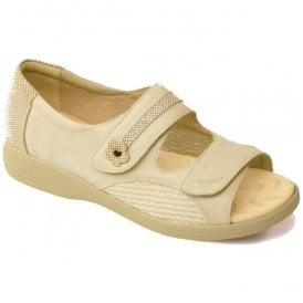 Womens Grace Beige Velcro Strap Over Sandals