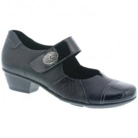 Womens Luxor Black Strap Over Mary Jane Shoes D7346-02