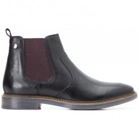 Mens Piper Black Waxy Leather Pull-On Ankle Boots
