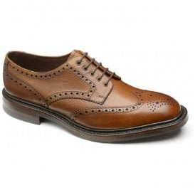 Mens Badminton Mahogany Grain Leather Brogue Shoes