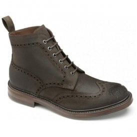 Mens Bedale Dark Brown Waxy Suede Brogue Lace Up Boots