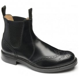 Mens Enfield Black Calf Leather Brogue Dealer Boots
