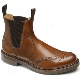 Mens Enfield Brown Calf Leather Brogue Dealer Boots