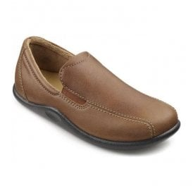 Mens Relax Rust Grain Leather Slippers