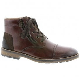 Mens Burnei Brown Leather Lace Up Waterproof Ankle Boots F5530-26
