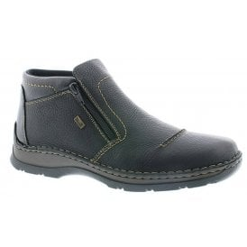Mens Michigan Black Leather Zip Up Waterproof Ankle Boots 05372-00