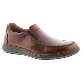 Mens Clarino Brown Leather Slip On Shoes 17370-24