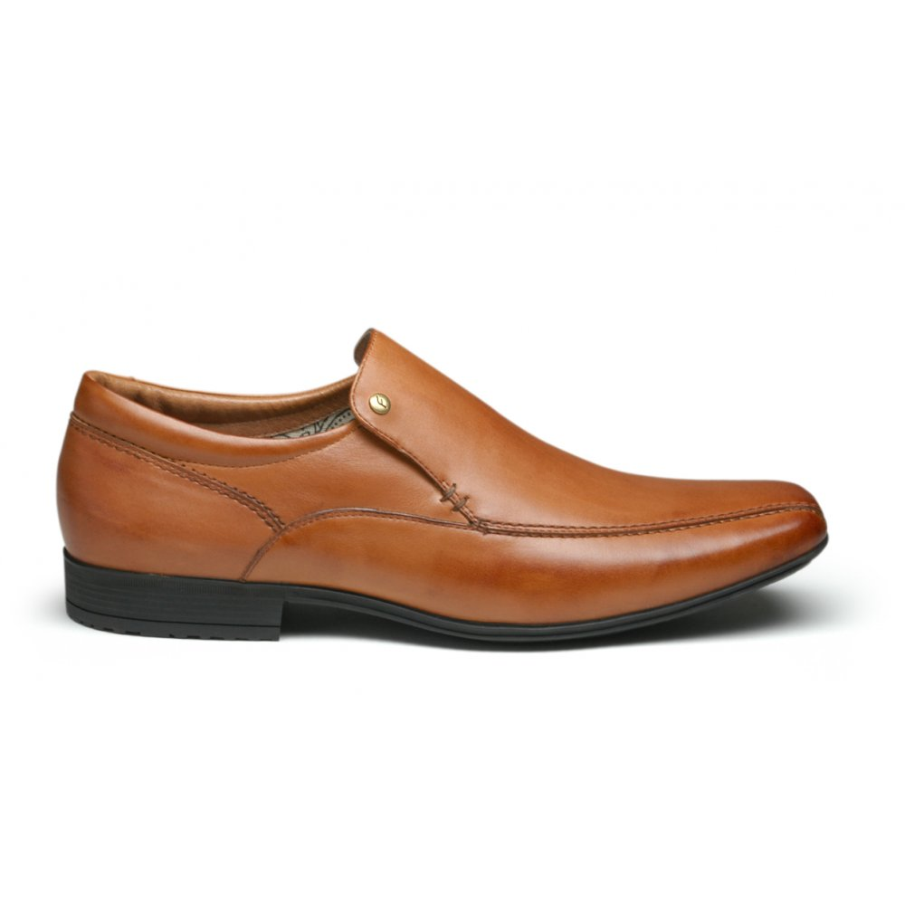 Base Brown Leather Slip On Shoes