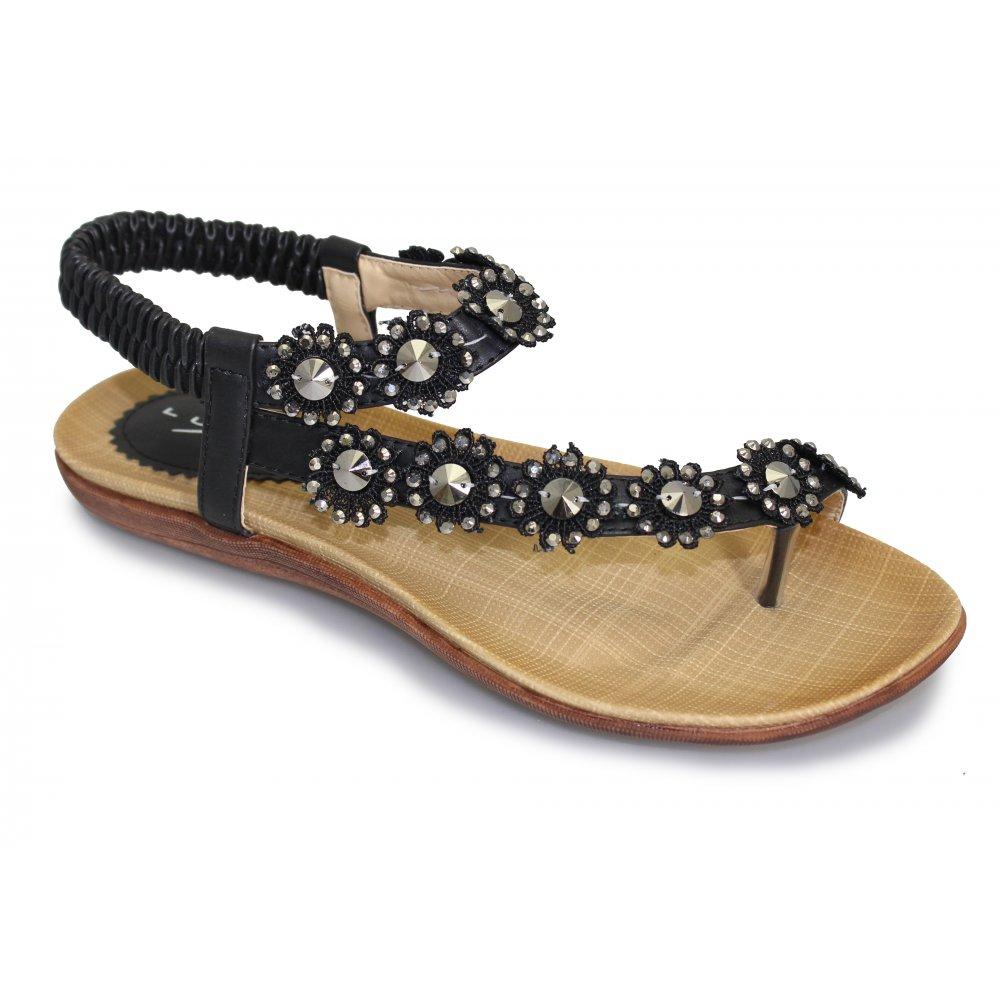 Black sandals uk - Lunar Womens Charlotte Black Toe Loop Sandals Jlh601 Bk