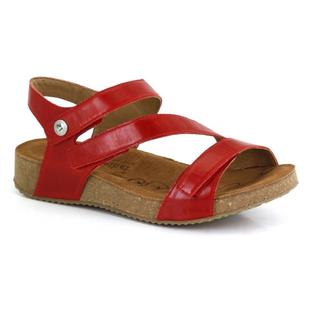 Josef Seibel Womens Tonga 25 Red Velcro Sandals At