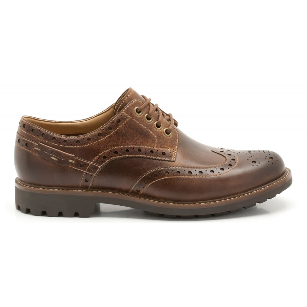 Clarks Mens Montacute Wing Dark Tan Leather Lace Up Shoes