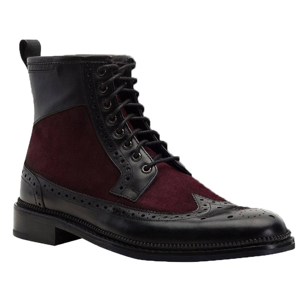 Brogue Boot in Black Polished Calfskin | Clifford