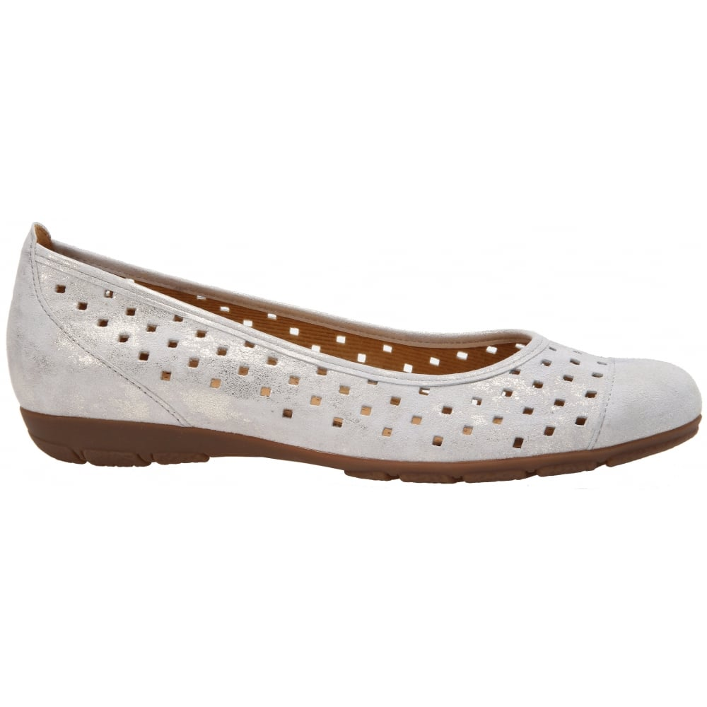 Gabor 84-169 Punched Detail Ballet Flat(Women's) -Black Metallic Leather Authentic Cheap Price Sale Manchester Clearance Fake Manchester Sale Online 9u9MRF