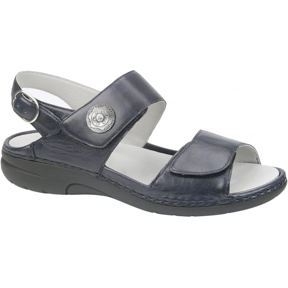 Womens Gunna Cuba Navy Leather Velcro Sandals 204001 119 194 ...