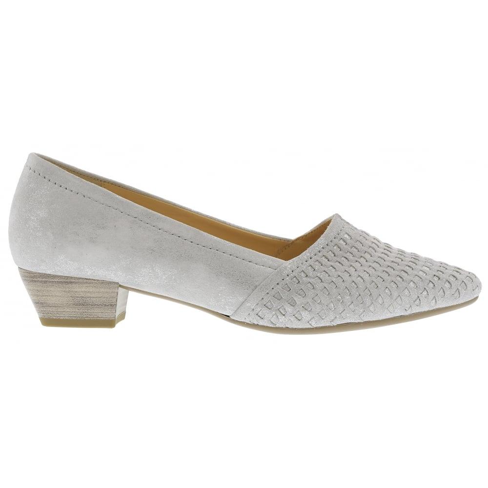 Gabor Womens Target Ice Grey Metallic Slip On Low Heeled Court Shoes  65.135.61. ‹