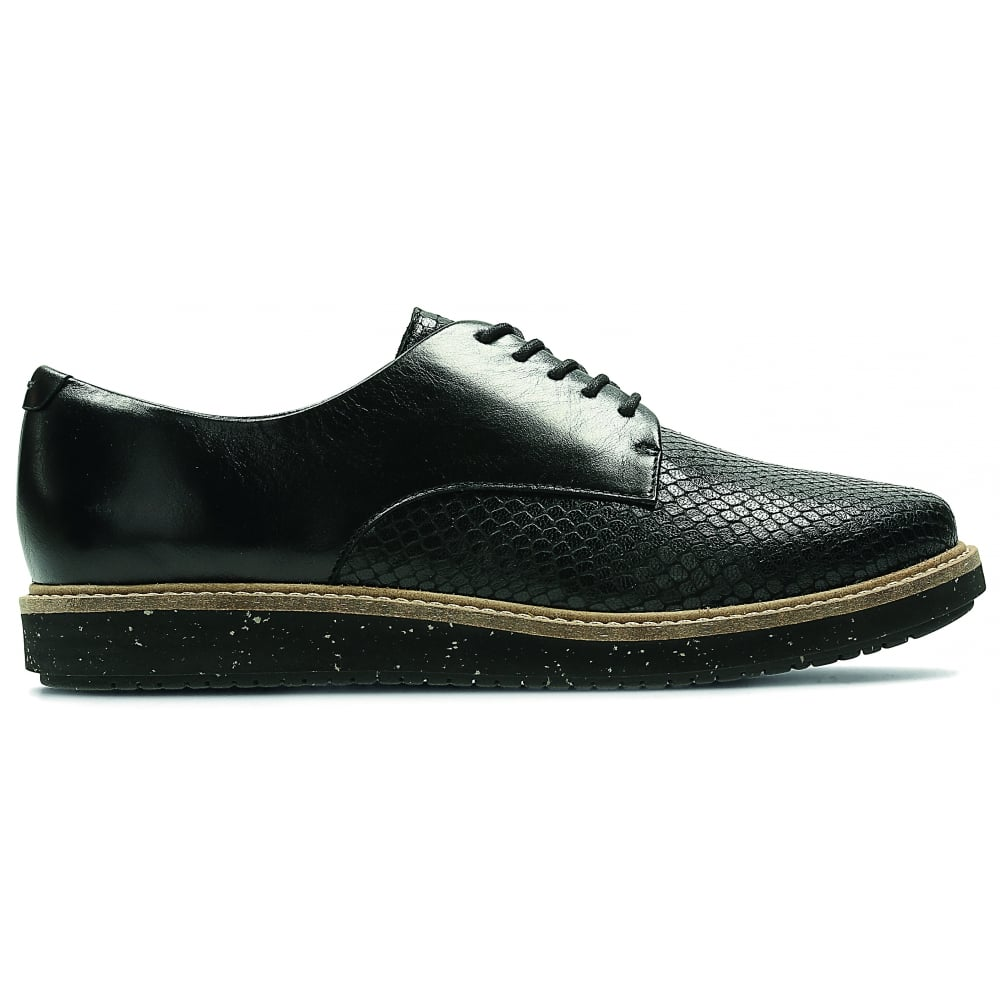 clarks womens glick darby black leather casual shoes