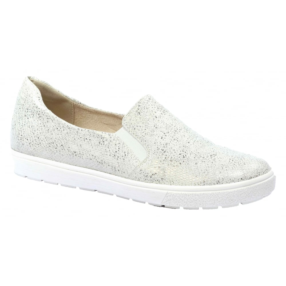 Womens Manou White Leather Slip On Loafers 9-9-24662-28 110 ...