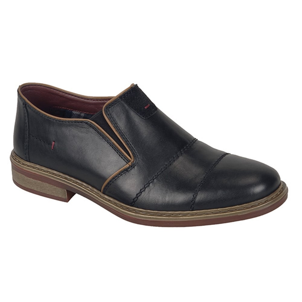 rieker mens clarino black leather slip on casual shoes