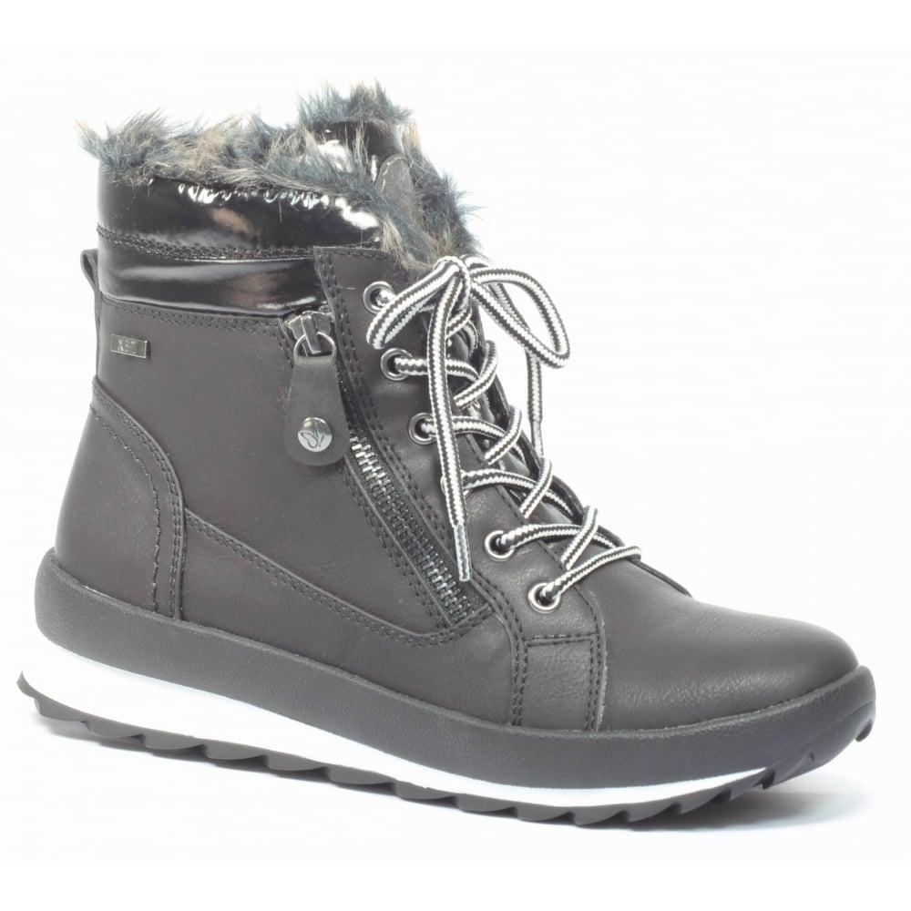 Womens Margit Black Combi Waterproof Ankle Boots 9-26205-29 019 ...