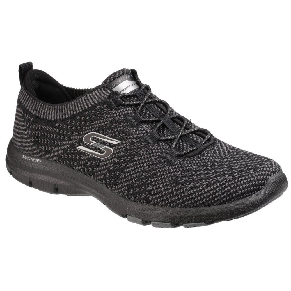 Ladies Skechers Trainers Style SN low top black and grey Size 6 worn only twice so in excellent condition minimal if any wear on soles Please note the postage charge covers packaging and a small amount for eBay fees as well as postage cost Thanks for looking. £ 0 bids.