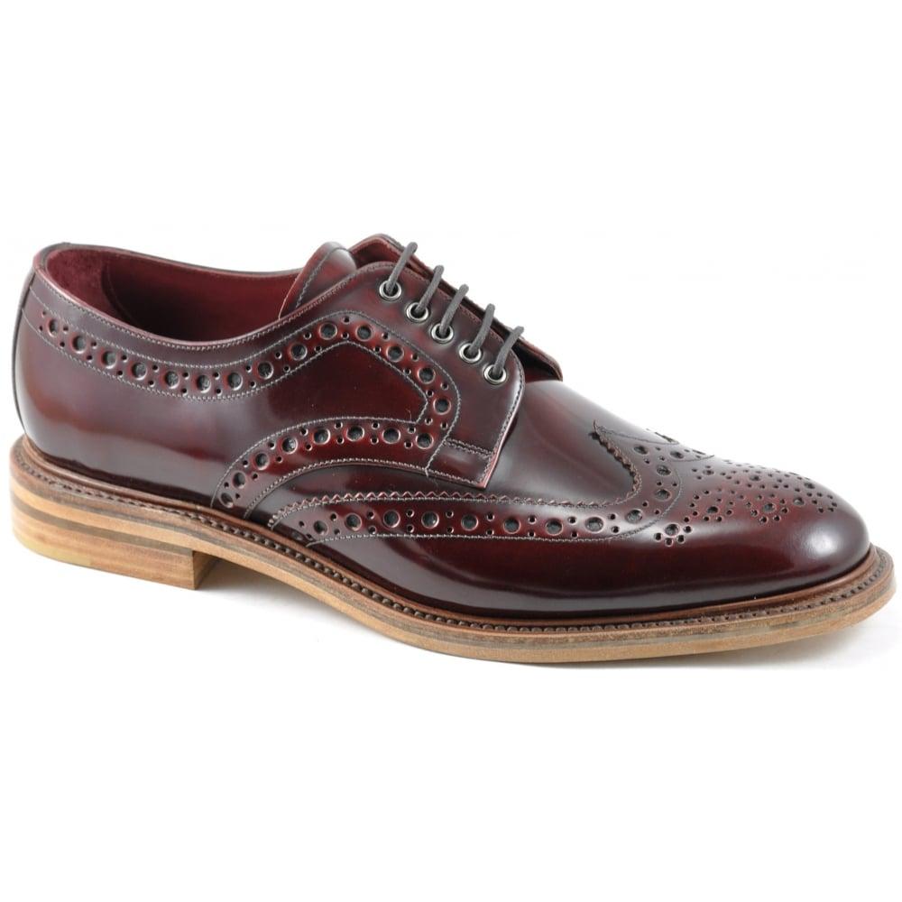 Loake Mens Dawson Lace Up Burgundy Brogue Shoes. ‹