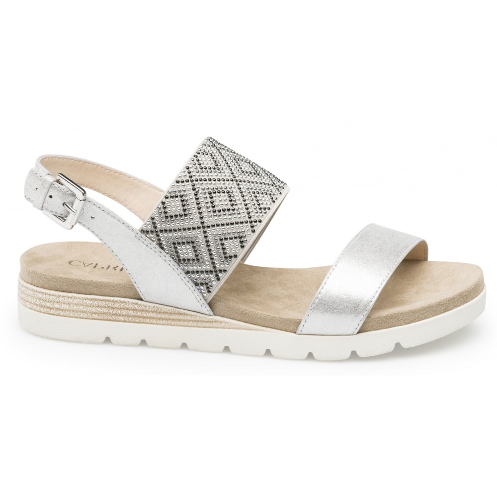 Womens 28604 Sling Back Sandals, Silver Caprice