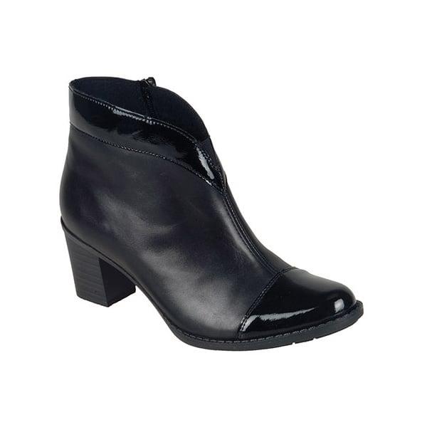7fde6bde4c9ae Rieker Womens Luxor Two-Tone Black/Patent Boots Z7664-00