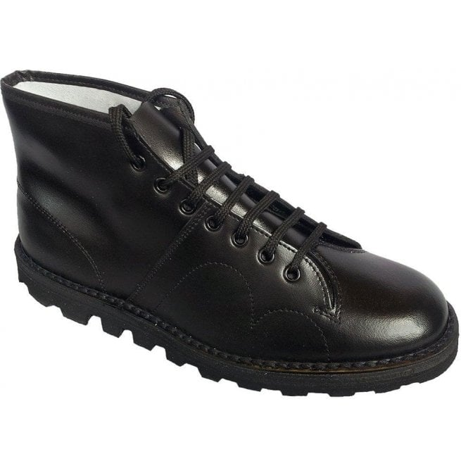 693901b58e8 Unisex Black Leather Lace Up Monkey Boots B430A