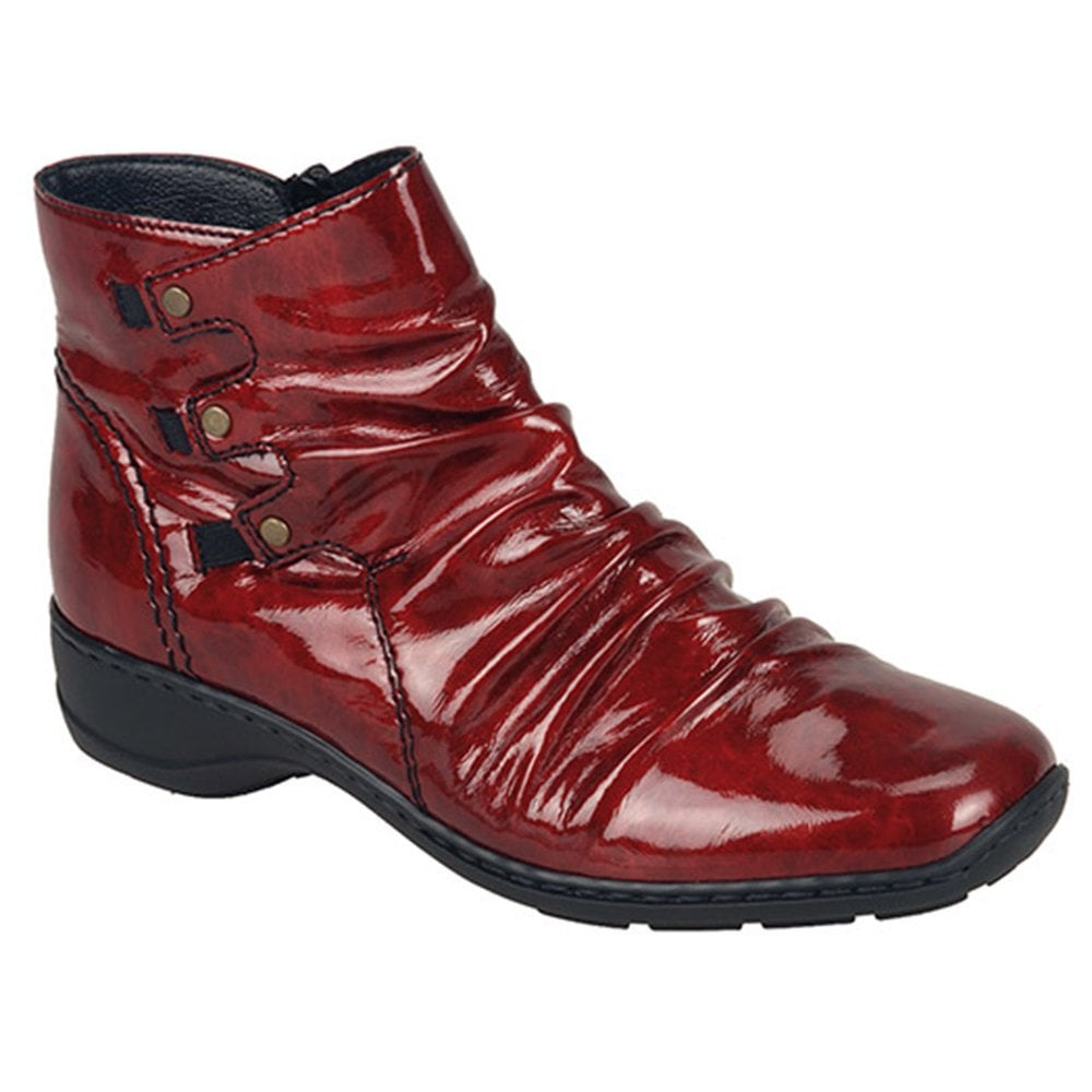 Single Zipped Ankle Boots In Red Patent