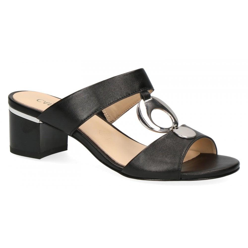 4c84b3ea8a Caprice Caprice Womens 9-27204-22 022 Black Nappa Slip On Block Heeled  Sandals