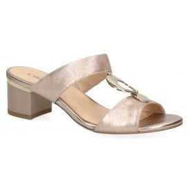 59338d476f1 Womens 9-27204-22 354 Taupe Metallic Slip On Block Heeled Sandals