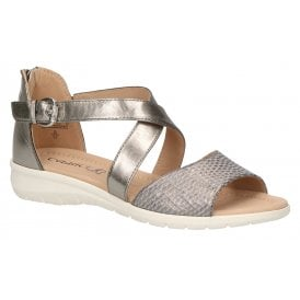 b26064c264 Womens 9-28152-22 989 Bronze Combi Closed Back Buckle Sandals New In.  Caprice ...
