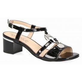 c20400c66b Womens 9-28211-22 018 Black Patent Block Heeled Sandals New In. Caprice ...