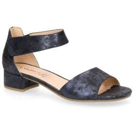 16392252ca Womens 9-28212-22 862 Ocean Metallic Suede Closed Back Mary Jane Sandals  New In. Caprice ...