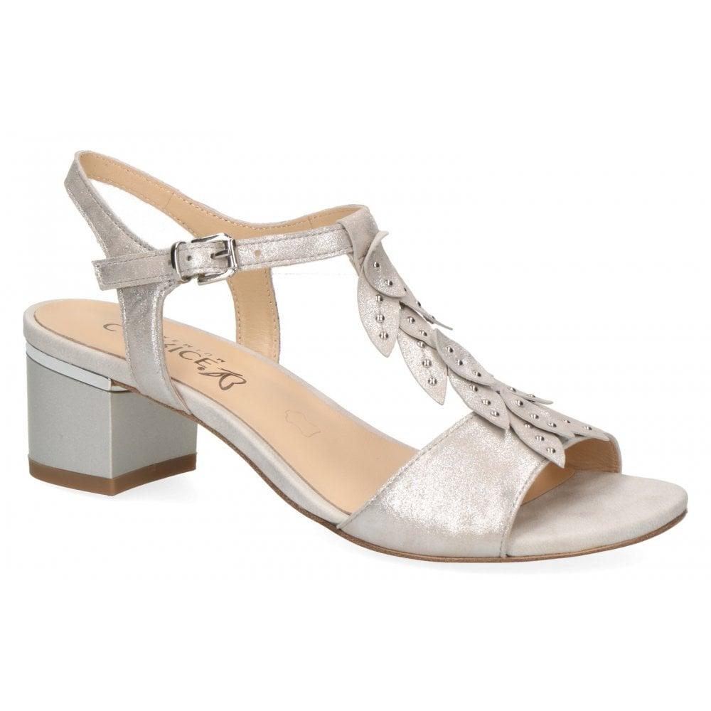 Caprice Caprice Womens 9-28213-22 924 Silver Metallic Leather T-Bar Block  Heeled Sandals