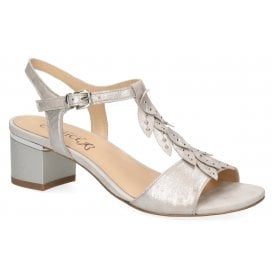 6727488cfa Womens 9-28213-22 924 Silver Metallic Leather T-Bar Block Heeled Sandals  New In. Caprice ...