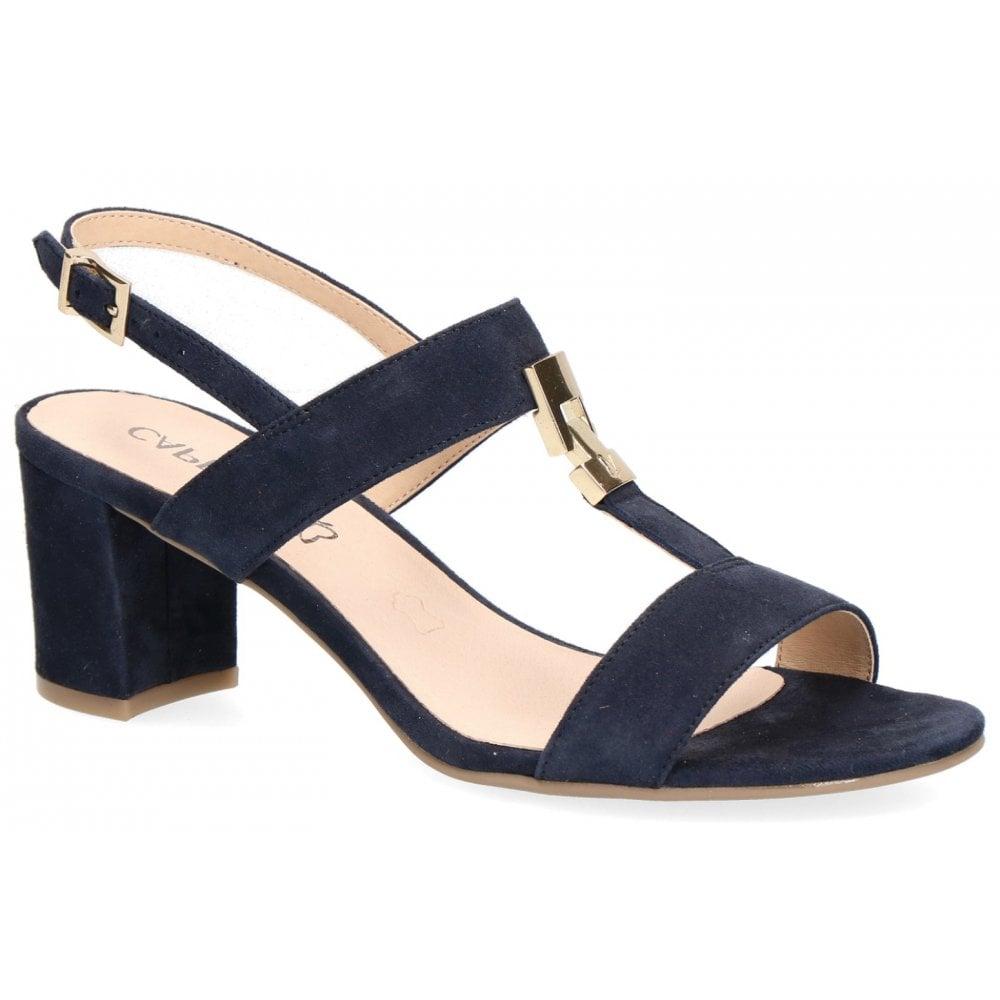 a90e4e514a Caprice Womens 9-28303-22 857 Ocean Suede Slingback Block Heeled Sandals