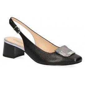 4e3b7ed0cccd Womens 9-29500-22 039 Black Combi Slingback Block Heeled Shoes