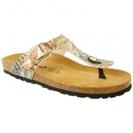 bdbf43df Womens Abia Gold Multi Toe-Post Mule Sandals 0027. Country Jack ...