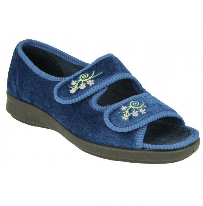 20116ee2510 Womens Ace 2 Navy Velcro Wide Fitting Slippers 71075N EE-4E (2V)