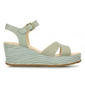 4a7ab7b29a5 Womens Akilah Eden Light Green Combi Nubuck Wedge Sandals 26134208 · Clarks  ...