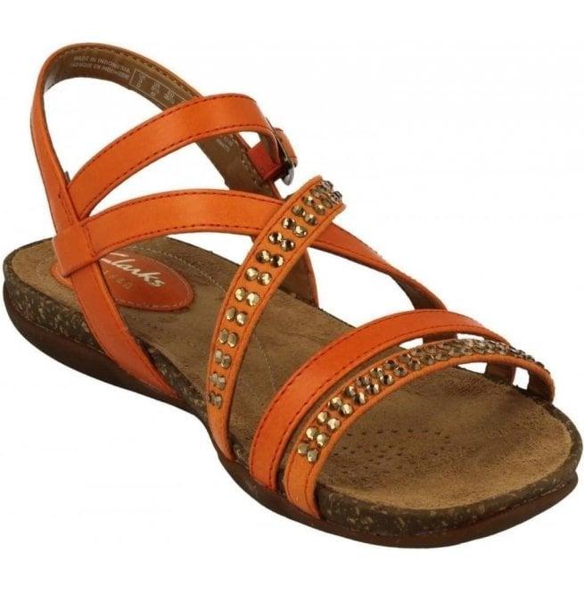 36f10c9dd52950 Clarks Womens Autumn Peace Orange Leather Sandals