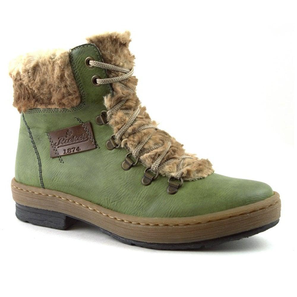 6c6817abcfaf05 Rieker Rieker Womens Balitimore Green Combi D-Ring Ankle Boots Z6743-52