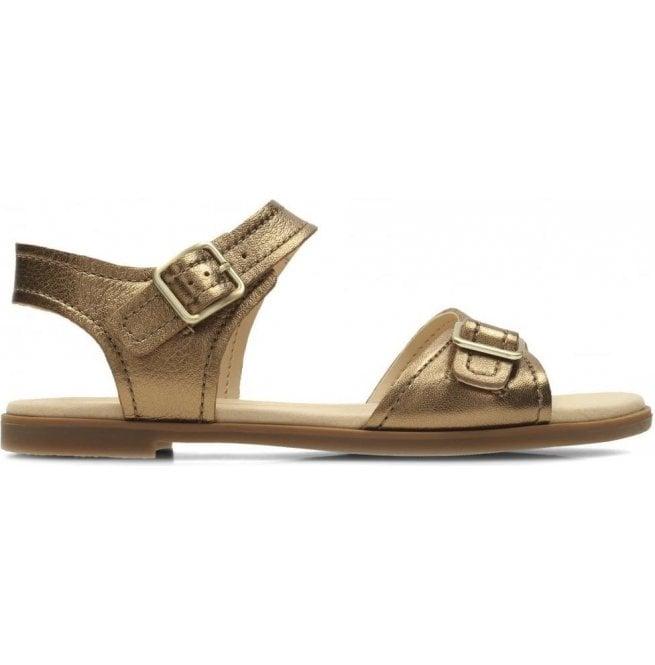 1a5bf6877f7 Clarks Clarks Womens Bay Primrose Bronze Metallic Leather Sandals 26131936