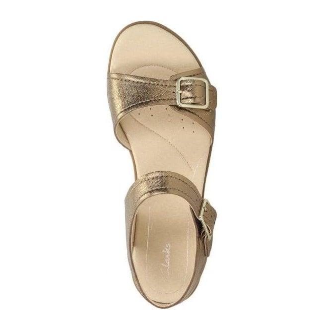 8bc338eb19e Clarks Womens Bay Primrose Bronze Metallic Leather Sandals 26131936