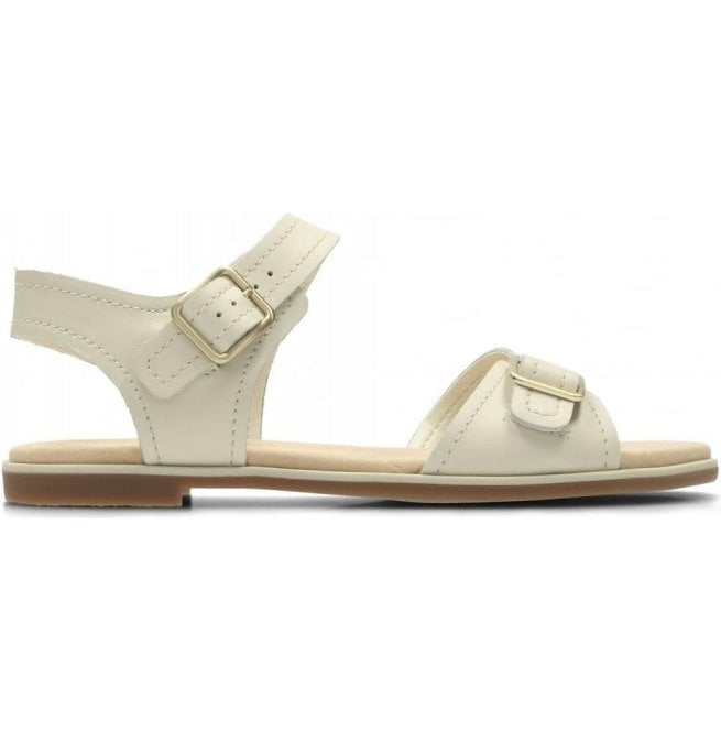 02537a4c9f1 Clarks Clarks Womens Bay Primrose White Leather Sandals 26131937